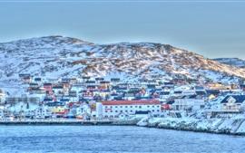Escandinavia, noruega, puerto, mar, costa, invierno, nieve