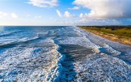 Mar, costa, costa, ondas, nuvens