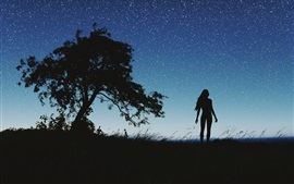 Preview wallpaper Silhouette, night, girl, tree, sky, stars