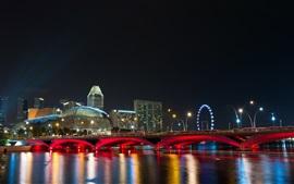 Сингапур город ночью, мост, фары, набережная, здания