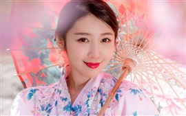 Preview wallpaper Smiling Japanese girl, kimono, paper umbrella