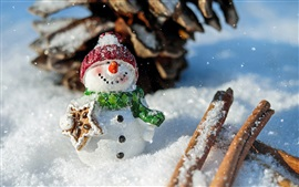 Aperçu fond d'écran Bonhomme de neige, thème du Nouvel An, hiver, neige