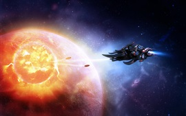 Preview wallpaper Space, spaceship, planets