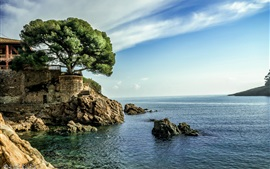 Spain, sea, house, tree, blue sky