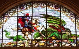 St. George's hall, stained glass, painting, dragon, Liverpool, England
