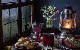 Preview wallpaper Still life, cakes, lamp, snowdrops