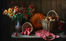 Preview wallpaper Still life, flowers, pumpkin, apples, onion, berries, basket