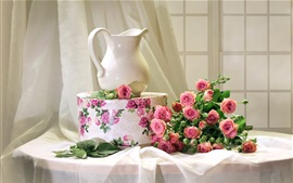 Preview wallpaper Still life, pink roses, vase, box, window
