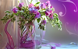 Preview wallpaper Still life, vase, purple flowers, petals