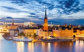 Stockholm at night, houses, buildings, lights, river, city, Sweden