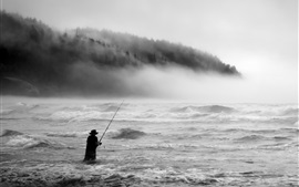 Preview wallpaper Storm, sea, fog, waves, fisherman