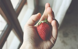 Preview wallpaper Strawberry close-up, hand, palm