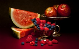 Preview wallpaper Summer fruit, watermelon, berries, raspberry, apples
