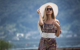Preview wallpaper Summer girl, hat, sunglass, short skirt