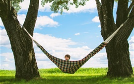 Preview wallpaper Summer, trees, hammock, happy child boy