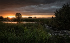 Preview wallpaper Sunset, field, river, trees, clouds, dusk