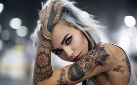 Tattoo girl, face, look, hand
