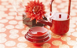 Tea cups, teapot, red, China culture