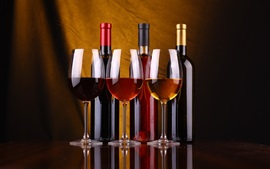 Preview wallpaper Three bottles wine, glass cups