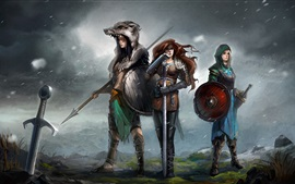 Preview wallpaper Three girls, warrior, weapons, fantasy, art picture