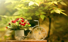 Preview wallpaper Toy bike, rose, decoration