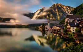 Travel to Hallstatt, Austria, lake, water reflection, houses, Alps, fog