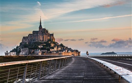 Travel to Normandy, Mont-Saint-Michel, road, bridge, monastery