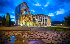 Travel to Rome, Colosseum, ruins, dusk, clouds, lights, Italy