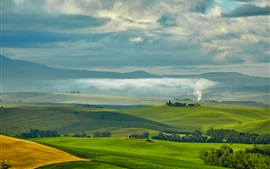 Preview wallpaper Travel to Tuscany, Italy, green fields, houses, trees, smoke, clouds