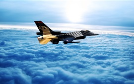 Turkish Air Force, fighter, sky, clouds