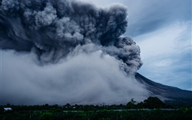 Volcano eruption, smoke, nature power
