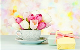 Preview wallpaper White and pink tulips, cup, gifts