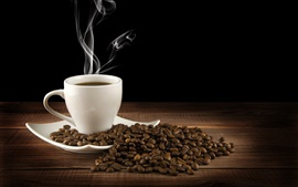 Preview wallpaper White cup, drink, hot coffee, saucer, steam, coffee beans