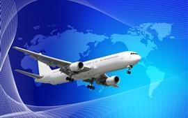 Blanco avión de pasajeros, azul mapa de fondo
