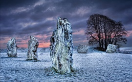 Preview wallpaper Wiltshire, UK, snow, winter, stones, trees, clouds