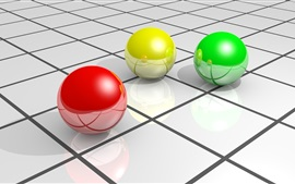 Preview wallpaper 3D balls, red yellow and green