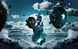 Preview wallpaper 3D guitar, egg, flight, coast, sea