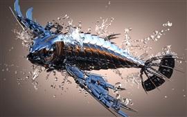 Aperçu fond d'écran Poisson en métal 3D
