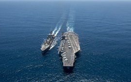 Preview wallpaper Aircraft Carrier, USS Carl Vinson, battleship, sea