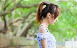Preview wallpaper Asian girl side view, summer dress