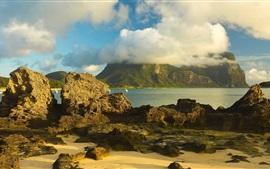 Austrália, montanhas, ilha, mar, pedras, nuvens