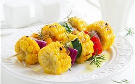 Barbacoa, maíz, verduras, comida