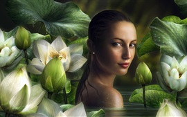 Preview wallpaper Beautiful fantasy girl in pond look back, lotus