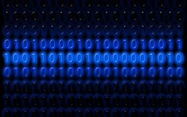 Preview wallpaper Binary code numbers, one or zero, blue, digital