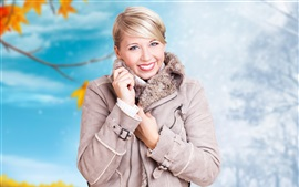 Preview wallpaper Blonde girl, smile, winter, coat