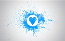 Preview wallpaper Blue love heart, watercolor, wall