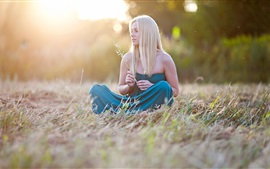 Blue skirt girl, sit, grass, summer