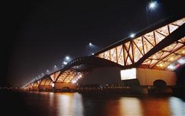 Bridge, lights, night, river, illumination