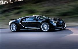Bugatti Chiron velocidade do carro preto