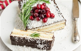 Preview wallpaper Cake, chocolate, cranberry